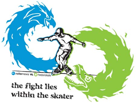tee artwork: rollernews vs hedonskate