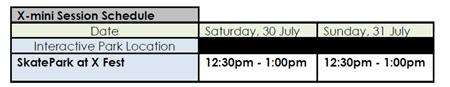 X-Games schedule