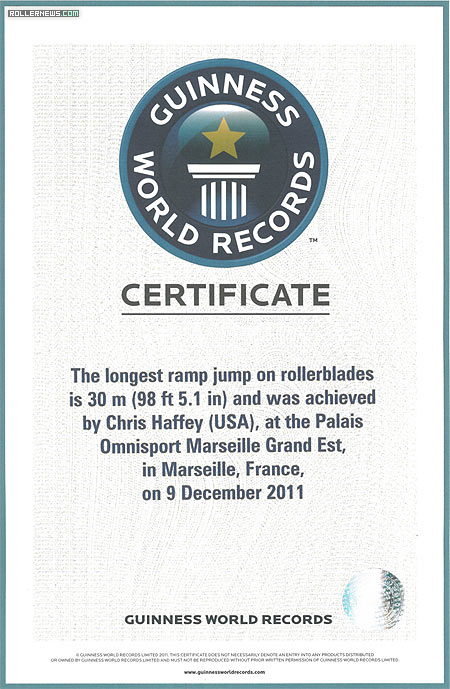 Longest Ramp Jump on Rollerblades by Chris Haffey validated by the Guiness World Records