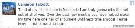 Cameron Talbott in Bandung Indonesia