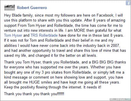 Robert Guerrero leaves Rollerblade