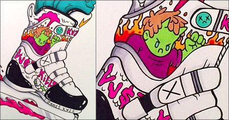 Franky Morales x kamikvze: Artworks by James kvze, drawing of a custom USD Franky Morales III