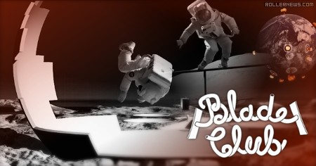 Two astronauts skate on the moon (2017)