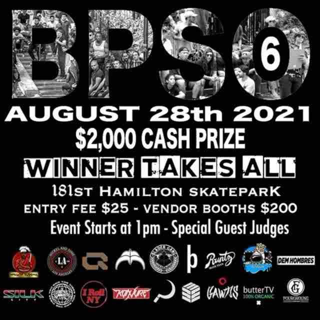 BPSO 6 - The Boschi Pope Skate off, 2021 Edition - Hamilton Skatepark, August 28 - Flyer